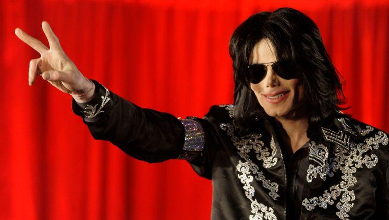 Michael Jackson in Londen bij het aankondigen van zijn concertreeks in de O2 Arena, ruim drie maanden voor zijn dood in 2009. Beeld AP