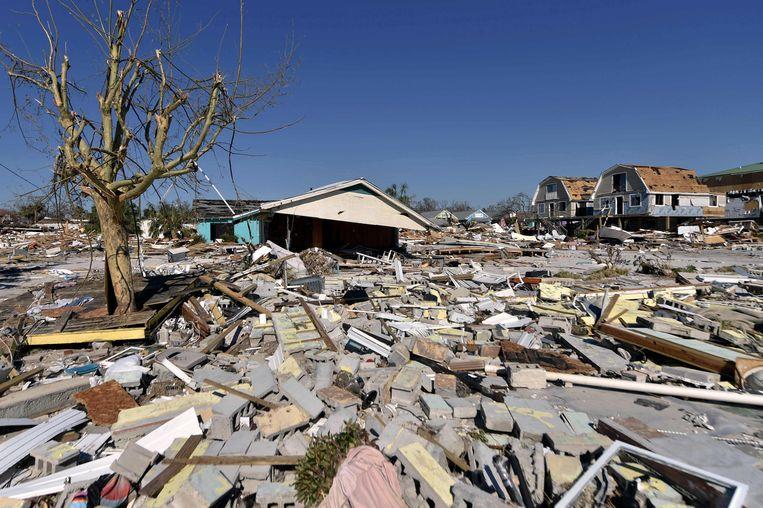 Schade na de passage van orkaan Michael in Mexico Beach, Florida in oktober 2018.