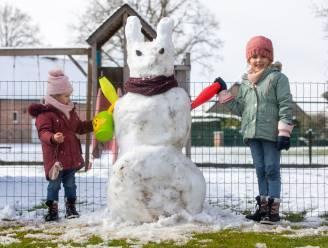 IN BEELD. Van besneeuwde bloemen tot reusachtige ijspaashaas: Limburgse gezinnen vieren witte paasvakantie