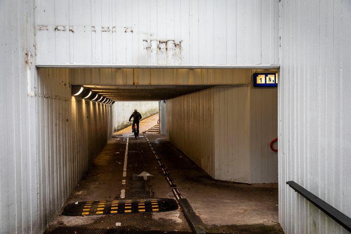 Het huidige fietstunneltje onder het station in Heeze, waar fietsers makkelijk gebruik van kunnen maken. Een van de voorstellen is het gebruik van de tunnel door fietsers in te perken.