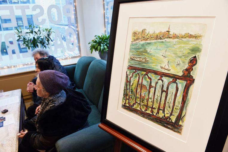 Het schilderij 'Vista from balcony', door Bob Dylan
