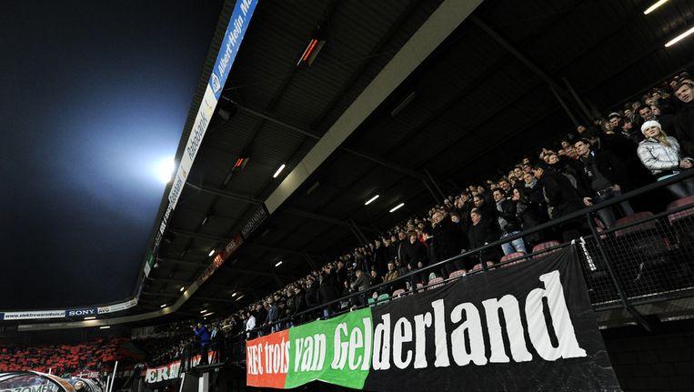 Spandoek in het stadion van NEC Nijmegen. Beeld anp