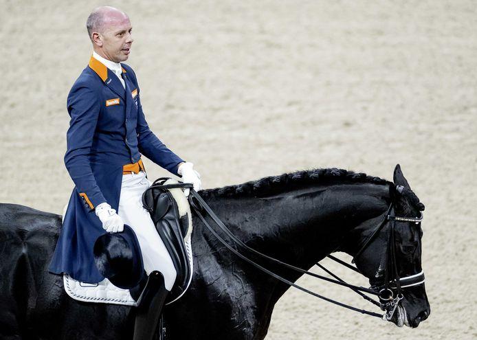 Ruiter Hans Peter Minderhoud in actie tijdens de dressuur op Jumping Amsterdam in de RAI. Volgens Gracenote zal hij de Nederlandse kopman zijn in Tokio en niet Edward Gal.