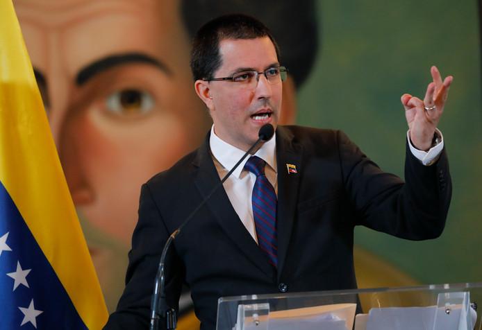 De Venezolaanse minister van Buitenlandse Zaken Jorge Arreaza.