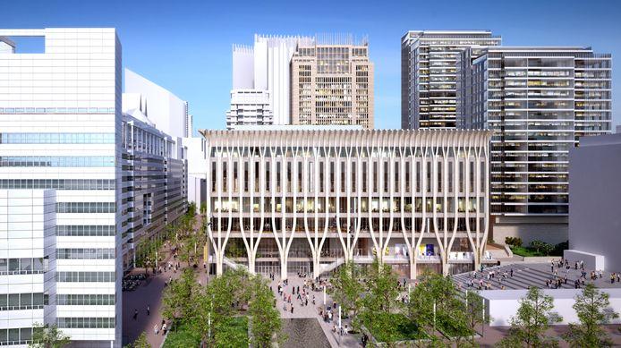 Het nieuwe gebouw gezien vanaf het spuiplein.