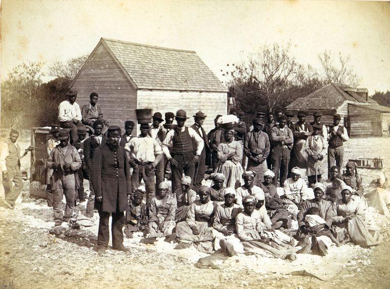 Tot slaaf gemaakten in het zuiden van de VS in 1862. Beeld Getty Images