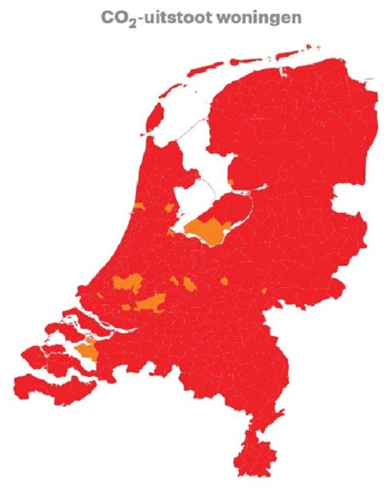 Al het rode is 'slecht', de vlekjes oranje zijn 'ontoereikend'. Beeld Trouw