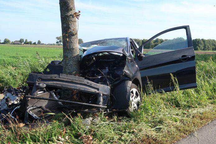 Auto botst tegen boom in Prinsenbeek.
