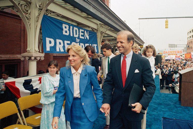 Jill en Joe Biden in 1987, vlak nadat Joe zich kandidaat heeft gesteld voor het presidentschap.  Beeld AP