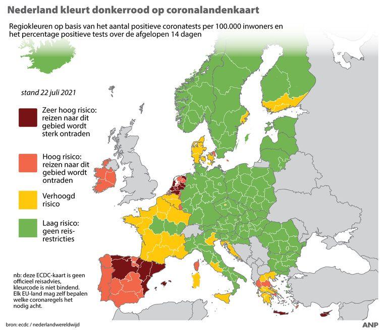 Elke twee weken publiceert het Europese RIVM een coronakaart. Half juli kleurde Nederland donkerrood, en nu is duidelijk geworden dat op de volgende kaart Nederland rood blijft.  Beeld ANP Graphics