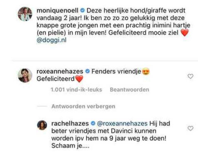 De bewuste berichten van Roxeanne en Rachel.