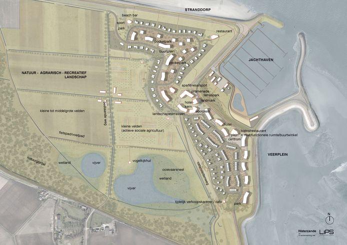 Impressies van masterplan Waterzande in Perkpolder, dat onlangs is gepresenteerd aan de Hulster gemeenteraad. Grootste verandering: de golfbaan wordt een natuurlandschap.