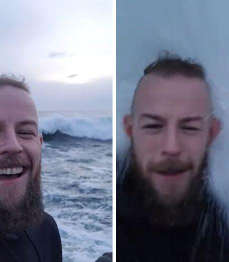 Un selfie qui se termine en une bonne douche froide