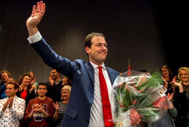 Asscher vorige week bij de bekendmaking van zijn winst in de lijsttrekkersverkiezing Beeld ANP