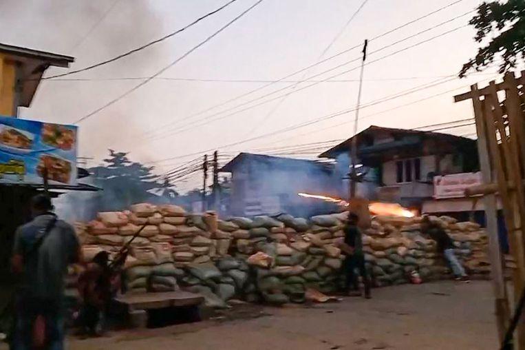 De bloedige protesten in de stad Bago, in Myanmar Beeld AFP
