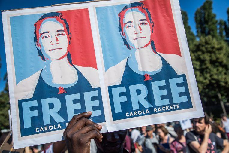 Sympathisanten vragen haar vrijlating in juli 2019 in Parijs. Beeld EPA