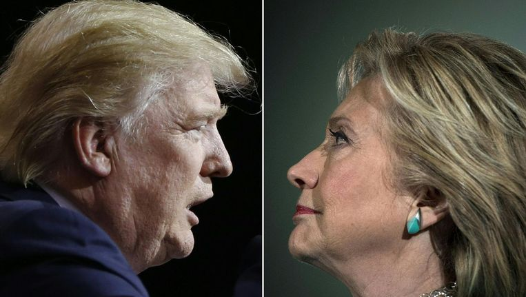 Donald Trump en Hillary Clinton. Beeld afp