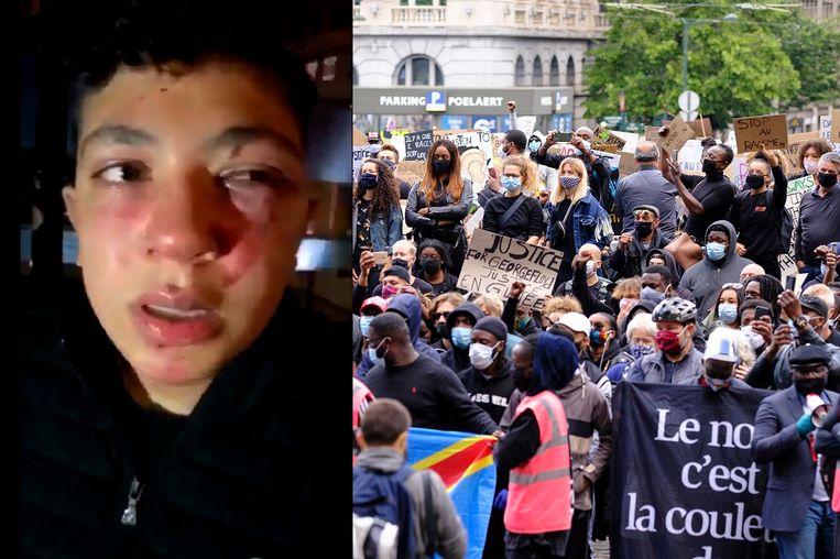 Links: Mounaime. Rechts: Demonstranten voor het Justitiepaleis op het Poelaertplein in Brussel op zondag 7 juni. Beeld Photo News/RV