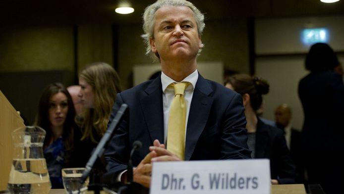 Geert Wilders vanochtend bij de uitspraak.