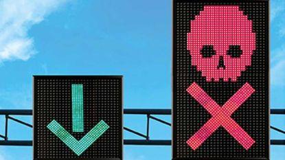 Een rode X negeren op de snelwegen is hetzelfde als door het rood rijden