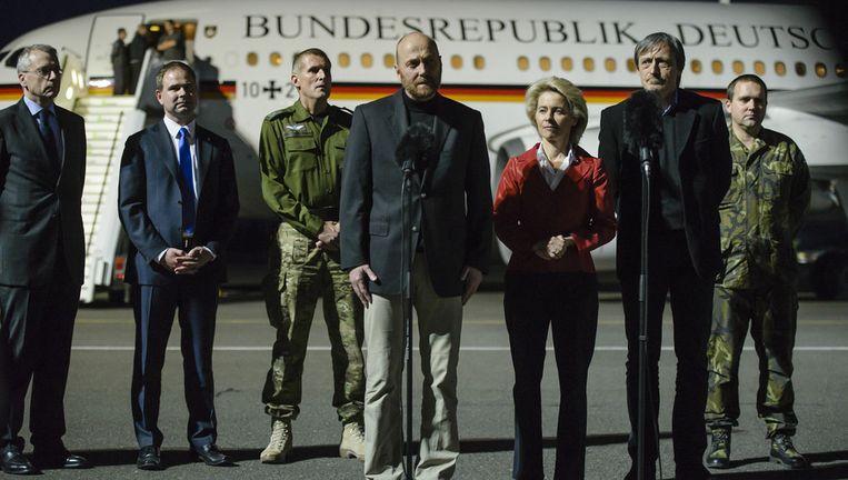 De vrijgelaten Axel Schneider in Berlijn.