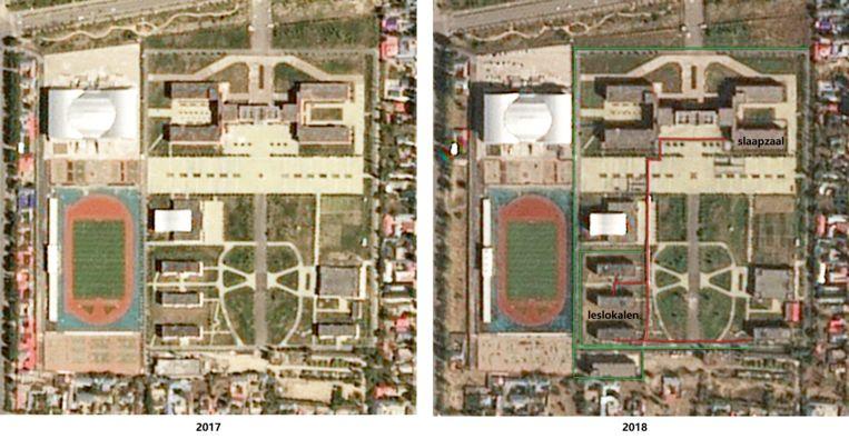Derde Middelbare School van Nilka in 2017, toen het gebouw nog als school werd gebruikt, en in 2018, toen het gebouw als heropvoedingskamp diende. Op satellietfoto's van 2018 is een omheining rond de school (groen) te zien, en een tunnel van hekwerk (rood) tussen slaapzaal en leslokalen. Beeld © Airbus DS 2017-2018 / beschikbaar gesteld door Earthrise