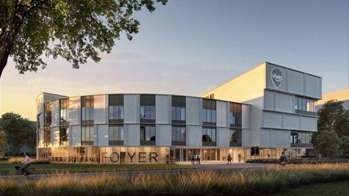 Het gebouw van VIVES City in Brugge kenmerkt zich door de ronde vormen.