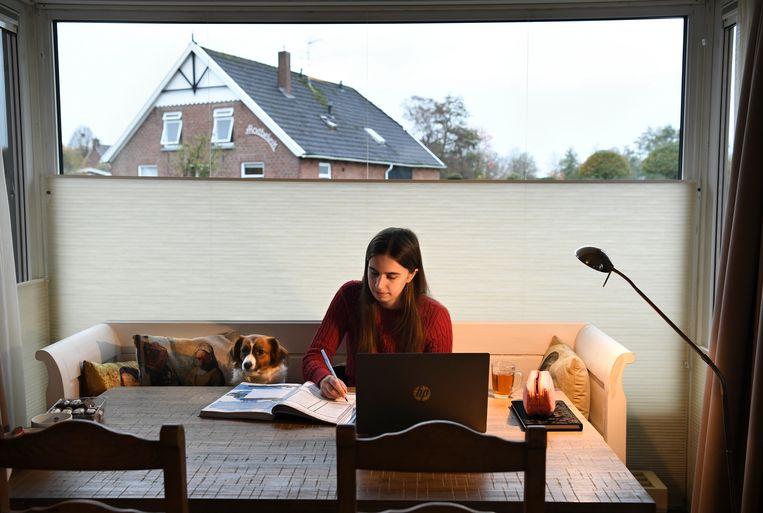 Dankzij de onlinelessen houdt Celine energie over voor naschoolse activiteiten. Beeld Marcel van den Bergh / de Volkskrant