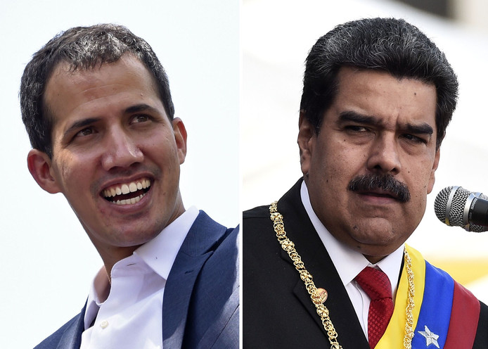 De Venezolaanse oppositieleider en zelfbenoemd interim-president Juan Guaidó (links) en president Nicolás Maduro.