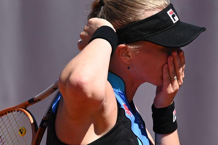 Kiki Bertens tijdens haar frustrerend partij tegen Polona Hercog.
