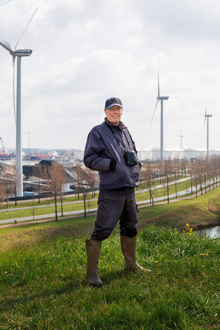 Stadsecoloog Martin Melchers, met op de achtergrond het Westelijk Havengebied: 'In de natuur verdwijn ik een beetje.' Beeld Susanne Stange