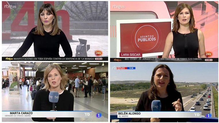Verschillende presentatrices van de Spaanse openbare omroep gingen vandaag voor de derde vrijdag op rij in het zwart werken. Beeld RTVE