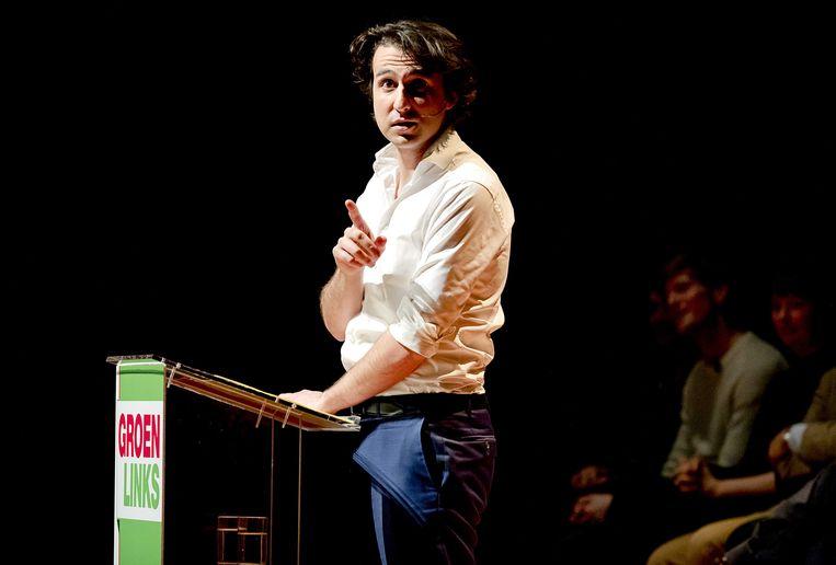 Lijsttrekker Jesse Klaver aan het woord tijdens een GroenLinks bijeenkomst, een Meet-up, in aanloop naar de Tweede Kamerverkiezingen.  Beeld ANP