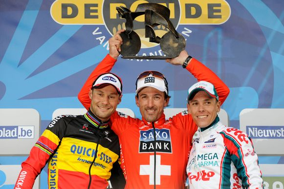 Cancellara won voor Boonen en Gilbert.