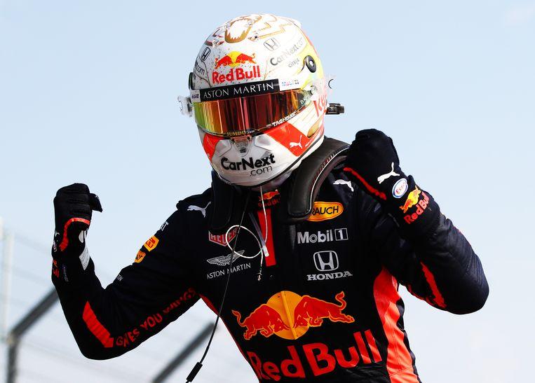 Max Verstappen wint de race op Silverstone. Beeld BSR Agency