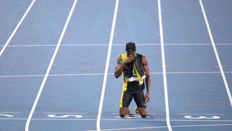 Usain Bolt bij de Olympische Spelen in Rio. Beeld afp