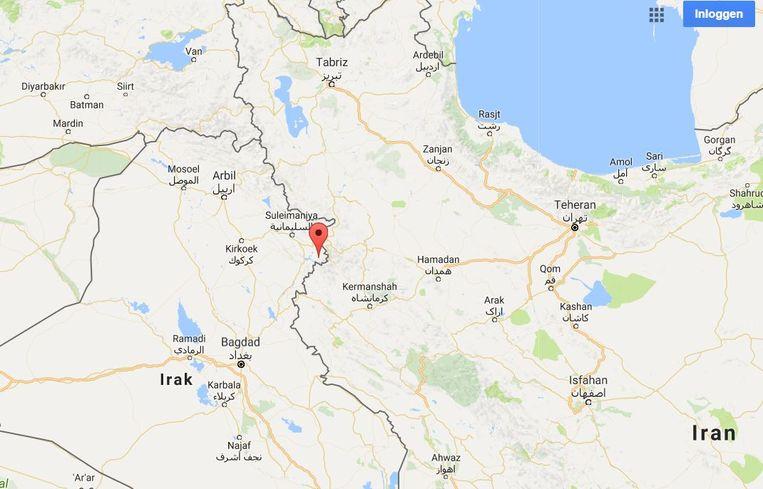 De schok deed zich voor op 32 kilometer ten zuidzuidwesten van de stad Halabaja in Iraaks Koerdistan. Beeld Google Maps