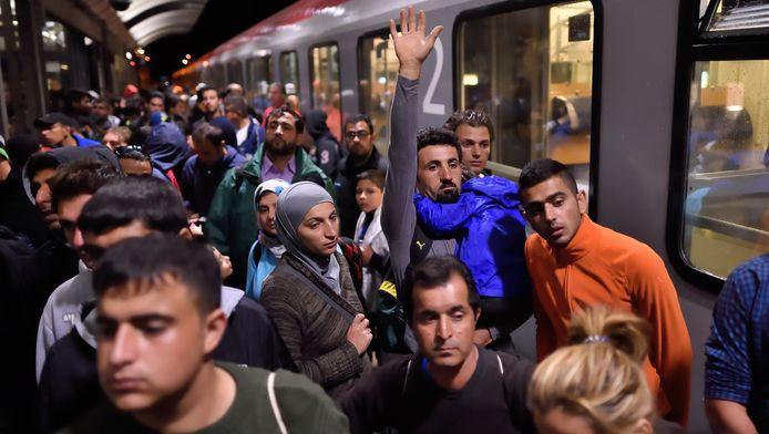 Vluchtelingen op het station van Saalfeld, vorige maand
