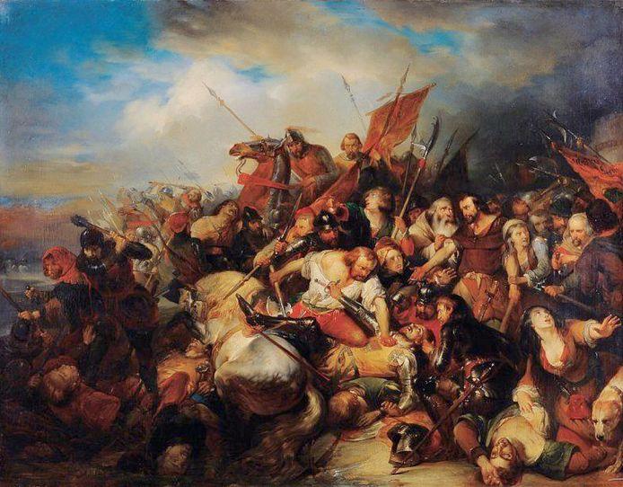 Toestand van het schilderij De Slag der Gulden Sporen tijdens restauratie