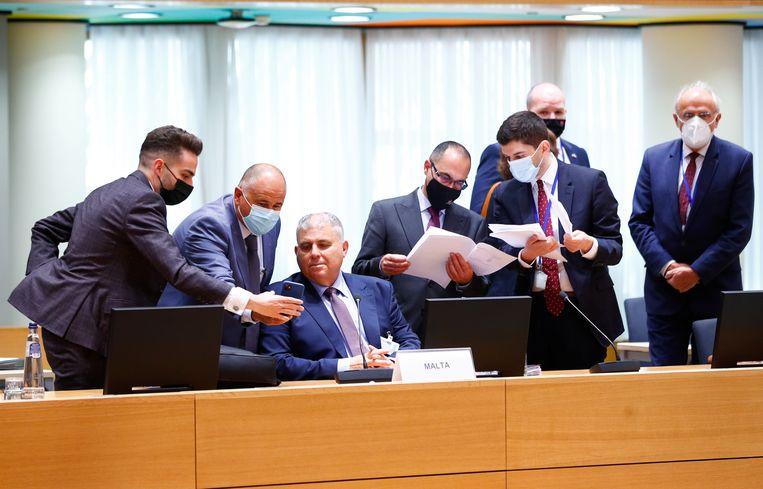 Een van de onderdelen van de 'jumbo-trialoog': EU-ministers van landbouw bijeen in Brussel, woensdag.  Beeld Reuters