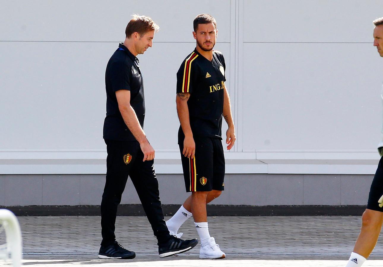 Van Crombrugge en Hazard tijdens het WK in 2018.