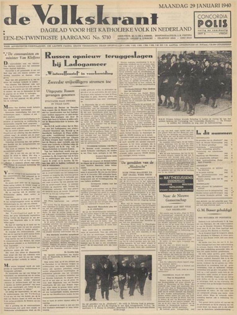 De Volkskrant van 29 januari 1940. Beeld