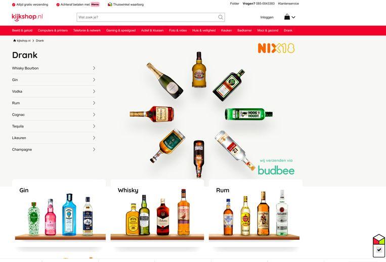 De website van Kijkshop.nl. Beeld kijkshop.nl