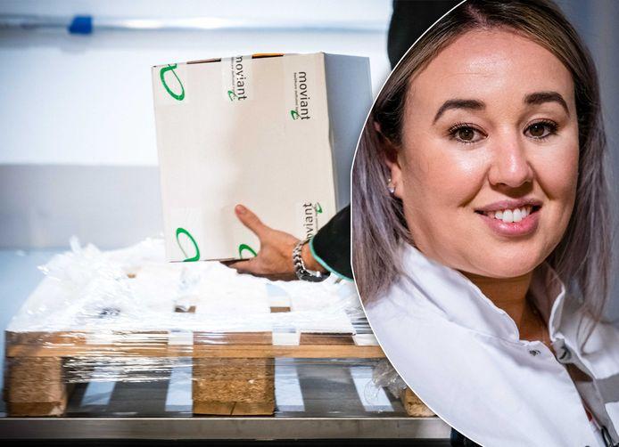 De vaccins zijn gisteren van Oss naar Veghel gebracht. Inzet: Sanna Elkadiri die het eerste vaccin van Nederland krijgt.