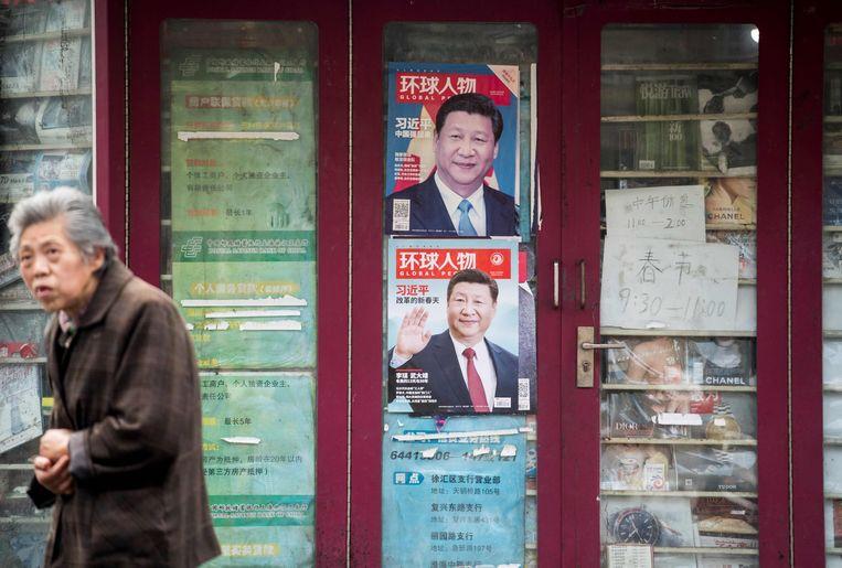 Aanplakbiljetten voor de president in Shangai. Beeld AFP