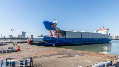 Eerste onderdelen van windmolenpark SeaMade gelost in Haven Oostende
