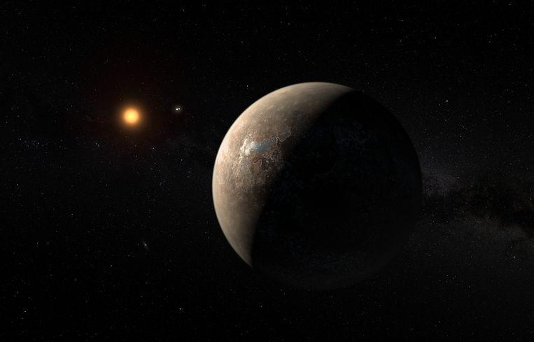 Een illustratie van Proxima B die rond de rode dwerg Proxima Centauri cirkelt. Proxima Centauri is de meest nabijgelegen ster van ons zonnestelsel. Beeld RV