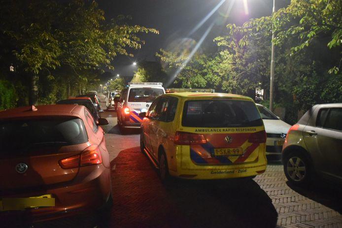 De politie en ambulance in de Guido Gezellestraat vanwege het steekincident.