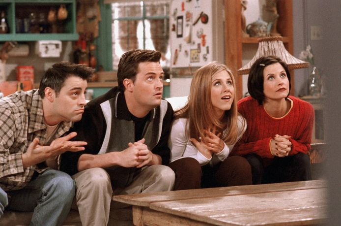 Matt LeBlanc, Matthew Perry, Jennifer Aniston en Courteney Cox  in 'Friends'