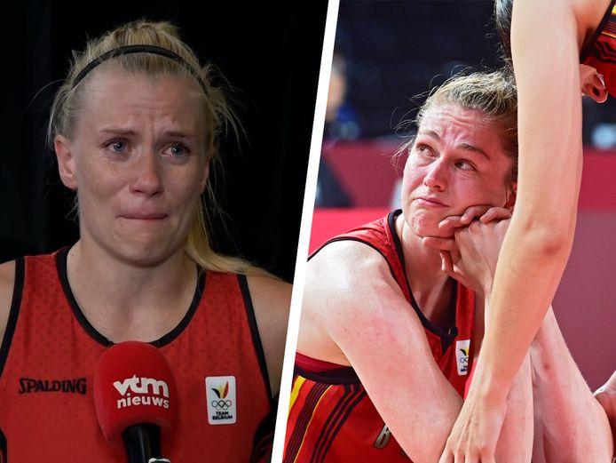 Julie Vanloo en Emma Meesseman in tranen.
